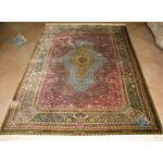 قالیچه دستباف تمام ابریشم قم اصل محمد جمشیدی