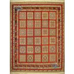 قالیچه سیرجان سوزنی فرش برجسته باف طرح خشتی