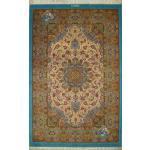 قالیچه دستباف قم پشم ریز چله و گل ابریشم