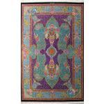 Rug Qom Carpet Handmade Flower pot Design all Silk
