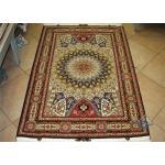 Zar-o-nim Tabriz Carpet Handmade Dom Design Silk & Softwool