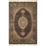 Zar-o-nim Tabriz Carpet Handmade Mahi  Design Silk & Softwool