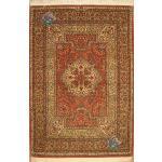 Zar-o-Nim Carpet Handwoven Qom Bergamot Design