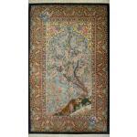 Zar-o-nim Qom Handwoven flower and bird Design All Silk
