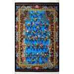 Zar-o-nim Qom Carpet Handmade Forty parrots Design All Silk