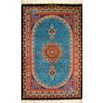 Mat Qom Carpet Handmade Bergamot Design All Silk