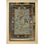 تابلو فرش دستباف تمام ابریشم قم  شکارگاه تولیدی لاجوردی