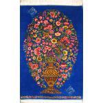 تابلویی فرش دستباف تمام ابریشم قم گلدانی بزرگ تولیدی احمدی