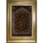 Tableau Carpet Handwoven Qom Chrysanthemum Design all Silk