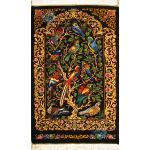 Tableau Carpet Handwoven Qom Flower and Bird Design all Silk