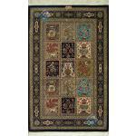 Zar-o-Charak Qom Carpet Handmade Brick Design