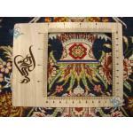 سایز پشتی دستباف تمام ابریشم قم طرح گلدانی مارک محمدی