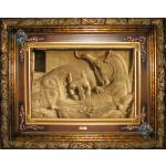 Tabriz Tableau Carpet Lion And Cow Battle