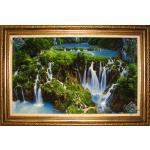 Tabriz Tableau Carpet Scenic waterfall