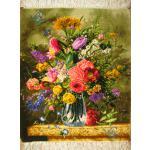 تابلو فرش تبریز طرح گلدان شیشه ای