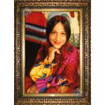 Tableau Carpet Handwoven Tabriz Tribal girl Design