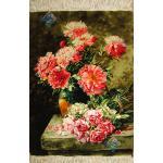 تابلو فرش تبریز طرح گلدان گل روی سنگ چله و گل ابریشم