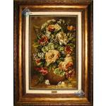 تابلو فرش دستباف تبریز گلدان تولیدی بیابانی چله و گل ابریشم