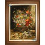 Tableau Carpet Handwoven Tabriz Flower Bucket Design
