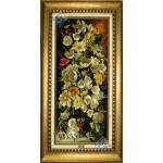 تابلو فرش دستباف تبریز گلدان گل ستونی چله و گل ابریشم