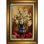 تابلو فرش دستباف تبریز پارچ پر از گل چله و گل ابریشم