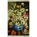 تابلو فرش دستباف تبریز گلدان و ترمه چله و گل ابریشم