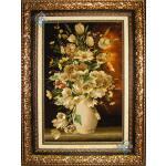 تابلو فرش دستباف تبریز گلدان لاله سفید چله و گل ابریشم