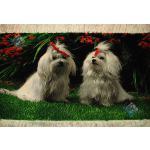 Tableau Carpet Handwoven Tabriz Two Dogs  Design