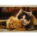Tableau Carpet Handwoven Tabriz Two cats Design