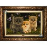 Tableau Carpet Handwoven Tabriz Three cats Design