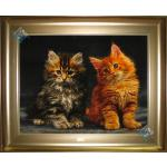 Tableau Carpet Handwoven Tabriz Two touching cats Design
