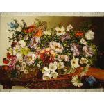 تابلو فرش دستباف تبریز طرح گل عرض و میز چله و گل ابریشم