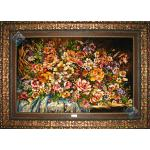 Tableau Carpet Handwoven Tabriz Flower Basket  Design