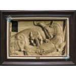 Tableau Carpet Handwoven Tabriz Achaemenid lion and cow battle Design