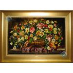 تابلو فرش دستباف تبریز طرح گلدان عرضی تولیدی سلمان