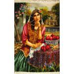 Tableau Carpet Handwoven Tabriz Qajar girl  Design