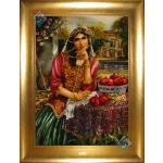 Tableau Carpet Handwoven Tabriz Qajar girl  Design