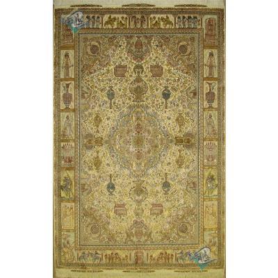 شش متری دستباف تبریز نقشه رسول نامی چله و گل ابریشم
