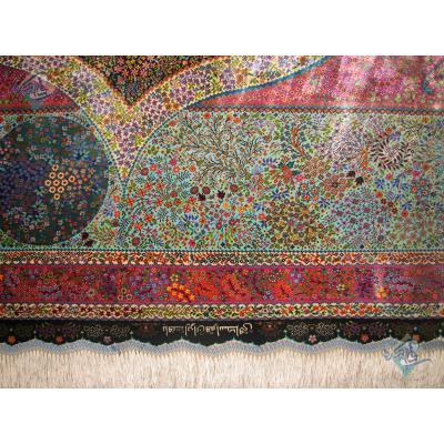 شش متری دستباف تمام ابریشم قم طرح درخت زندگی تولیدی اسحاقی