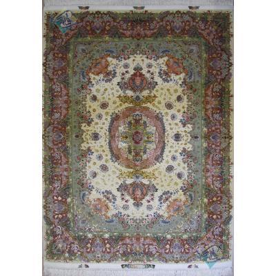 قالیچه دستباف تبریز طرح بنام هفتاد رج چله و گل ابریشم