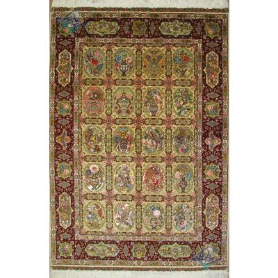 Rug Tabriz Carpet Handmade Golestan Design Silk & Soft Wool