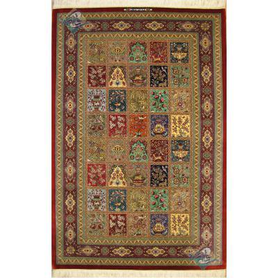 قالیچه دستباف قم تولیدی روزگرد طرح خشت شیرین