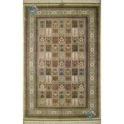 قالیچه دستباف تمام ابریشم قم تولیدی طلاکوب نقشه خشت ریز