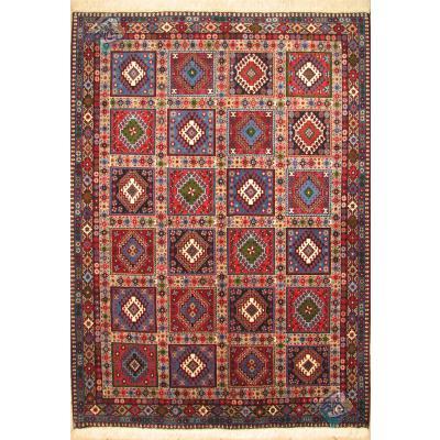 قالیچه دستباف یلمه بروجن تمام پشم طرح خشتی