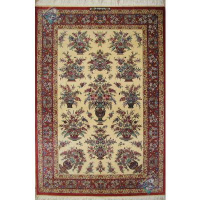 قالیچه دستباف تمام ابریشم قم طرح گلدانی دسته گلی تولیدی روزگرد