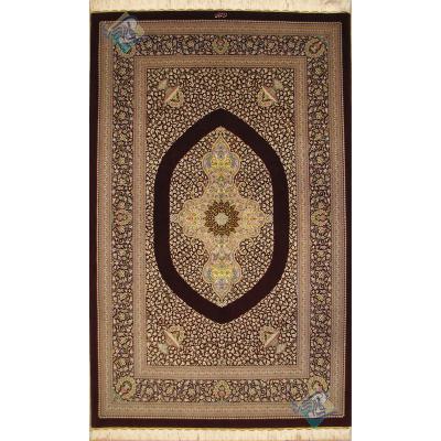 قالیچه سه متری دستباف قم پشم ریز چله و گل ابریشم