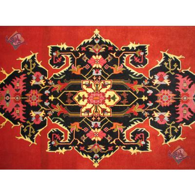 قالیچه سه متری دستباف بیجار طرح تمام ترنج پشم ریز رنگ گیاهی