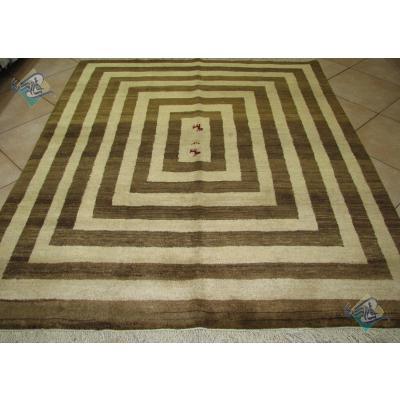 قالیچه دستباف گبه شیرازی پشم دستریس رنگ طبیعی