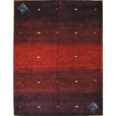 قالیچه دستباف گبه قشقایی تمام پشم طرح رنگین کمانی جدید
