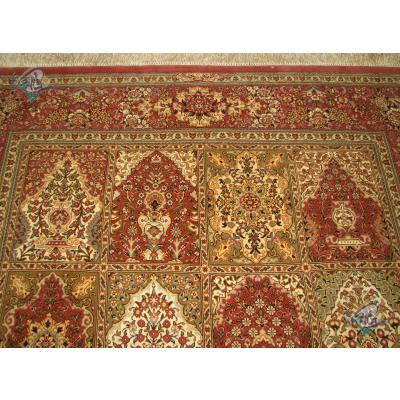 قالیچه دستباف قم نقشه خشتی تولیدی فتحی چله و گل ابریشم